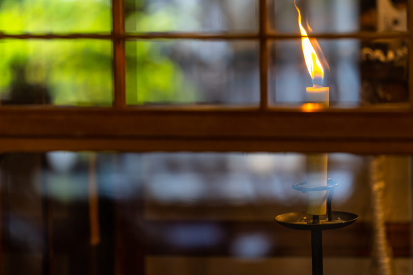 Japanese candles burn with large, warm and bright flames