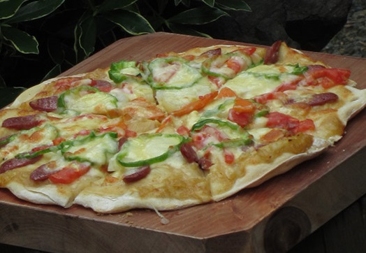 It's fun to make pizza in the stone oven