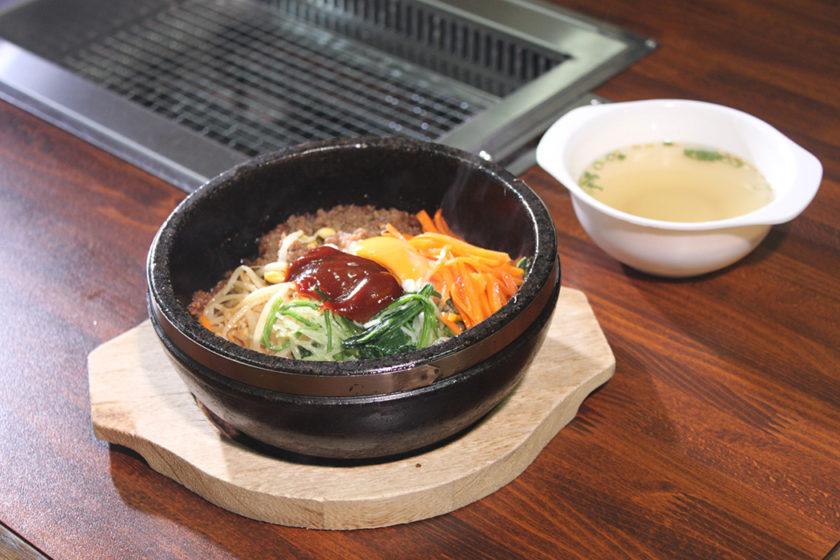 Ishiyaki bibimbap Korean style rice dish heated in a stone pot