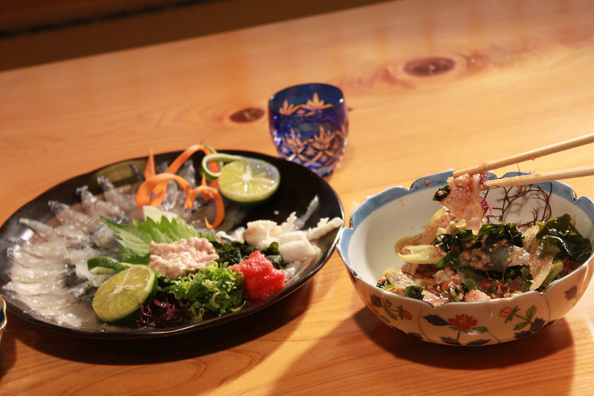 Hagi-sashimi and Hagi-mocha (Hagi Sashimi additionally with Hagi liver paste and seaweed) is also popular!