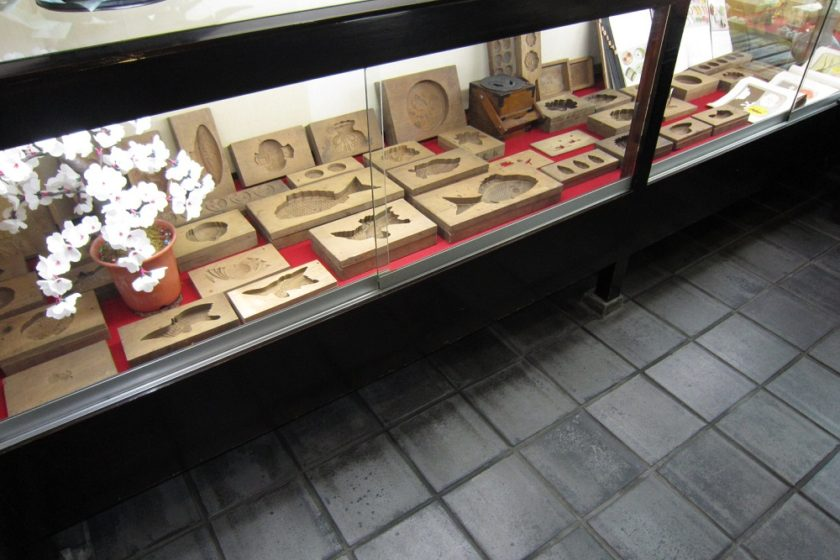 Old original wooden forms for Japanese pastry