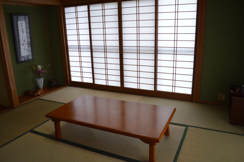 Japanese room with Tatami mats. There is also a western room on the second floor.