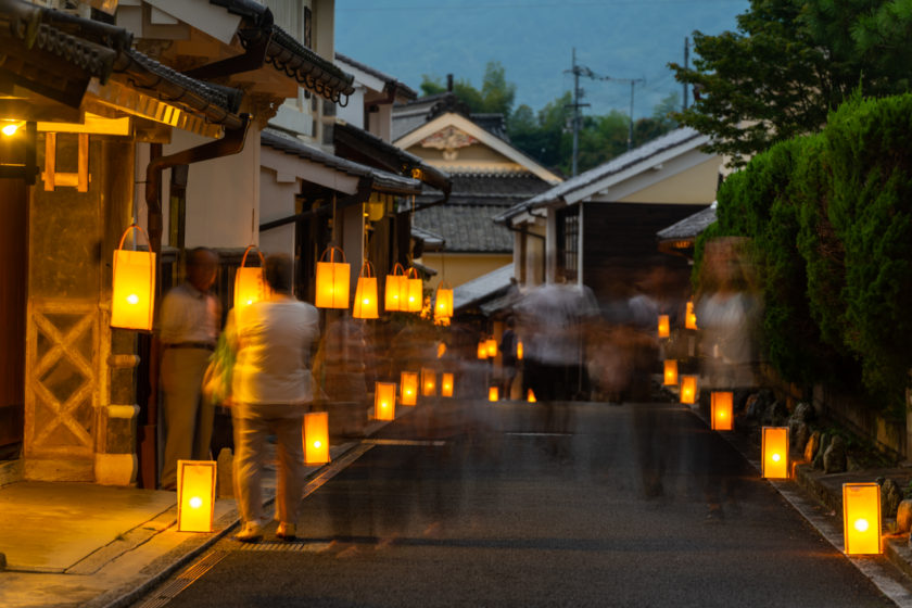 This scenery of endless rows of paper lanterns takes you back in time.