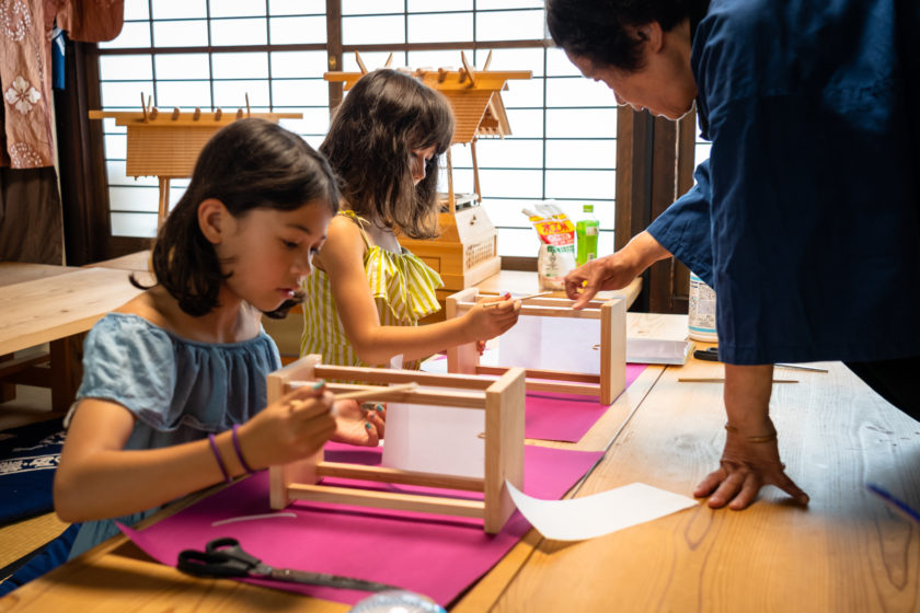 Stick the paper to the wooden frame Heartful handmade paper lanterns