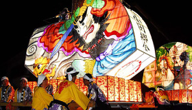 Town parade with beautiful picture lanterns / Oda Lantern Festival