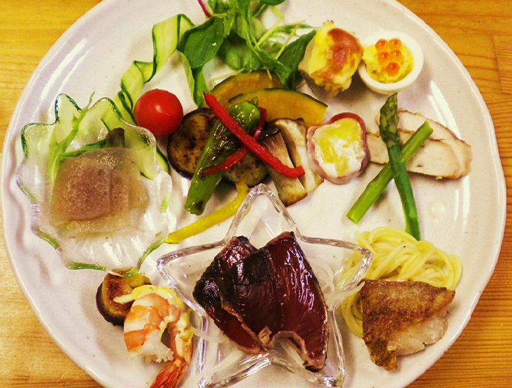 Gourmet plates of local vegetable dishes